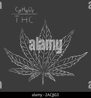 Medicinal cannabis drawn in chalk formula. illustration. - Stock Photo