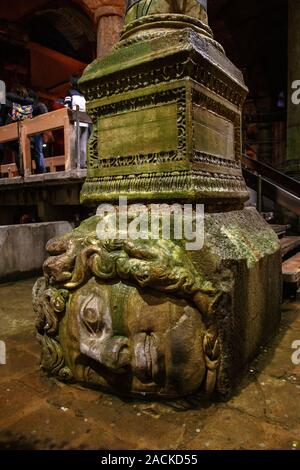 Istanbul, Turkey - March 25, 2019. Upside-down head of Medusa located at northwest edge of the subterranean Basilica Cistern, also known as Yerebatan - Stock Photo