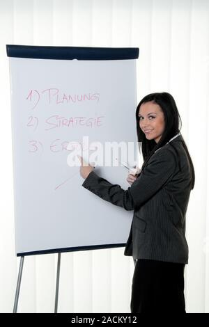 Coach with flipchart in German. - Stock Photo