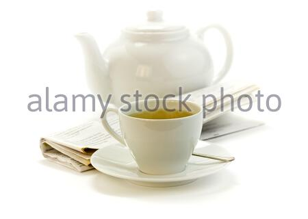 morning cup of tea, teapot and press on white - Stock Photo