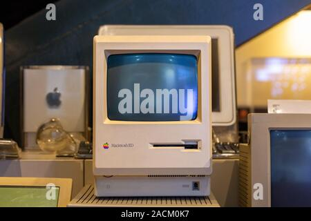 Old Macintosh ED personal computer by Apple along with other models at Rahmi M. Koc Industrial Museum in Istanbul.