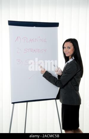 Coach Flipchart in German. Training and education - Stock Photo