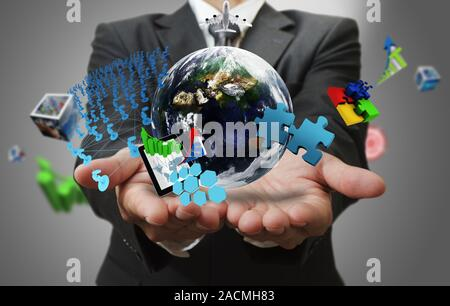Business man hand shows the world of Business as conceptElements of this image furnished by NASA - Stock Photo