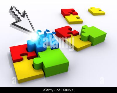 completing the puzzle - Stock Photo