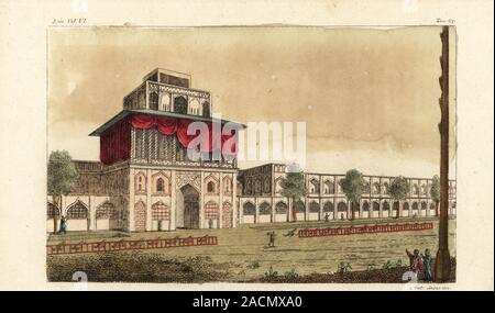 The Ali Qapu Palace, or Imperial Palace, in Isfahan, Iran. Built by Shah Abbas I in the early 17th century. Palazzo Reale. Handcoloured copperplate engraving by Giovanni Antonio Sasso from Giulio Ferrario's Costumes Ancient and Modern of the Peoples of the World, Il Costume Antico e Moderno, Florence, 1847. - Stock Photo