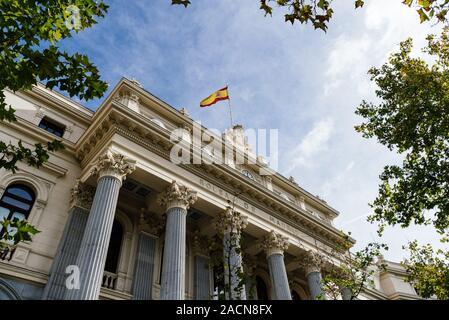 Madrid, Spain - November 1, 2019: The Stock Exchange of Madrid building, it is called Bolsa de Madrid - Stock Photo