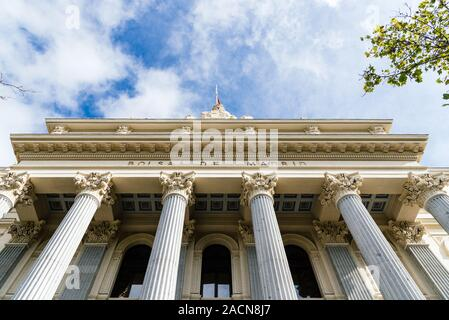 Madrid, Spain - November 1, 2019: The Stock Exchange of Madrid building, it is called Bolsa de Madrid - Stock Photo