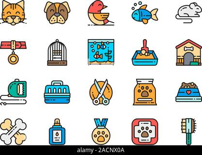 Set of Vet Clinic Flat Color Icons. Cat, Dog, Bird, Parrot, Fish, Mouse and more - Stock Photo