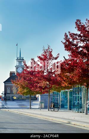 Stockton on Tees High Street in the Autumn - Stock Photo