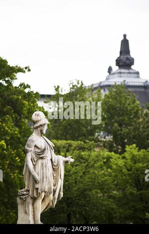 beautiful statues located on the Avenue des Champs-Elysees in Paris, France - Stock Photo