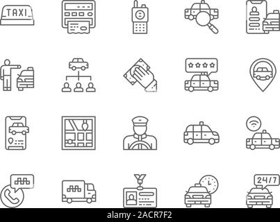 Set of Taxi Line Icons. Truck, Delivery, Cabbie, Taxicab, Id Card and more. - Stock Photo