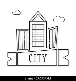 Illustration Of Building And City, City Scene Illustration On White Background. Vector Illustration Suitable For Greeting Card, Poster Or T-shirt - Stock Photo