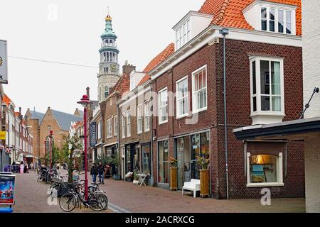 Nieuwe Burg, a typical town centre shopping street in Middelburg, Zeeland, Netherlands - Stock Photo