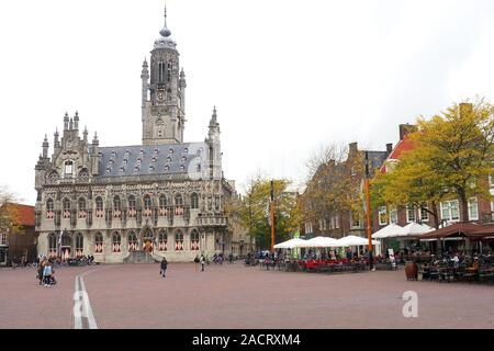 Stadhuis and Market Square, Middelburg, capital city of the province of Zeeland, Netherlands - Stock Photo