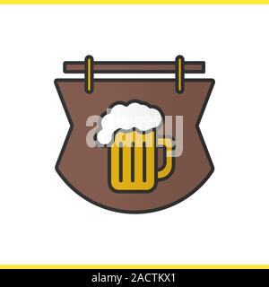Wooden bar sign color icon. Tavern. Pub signboard with foamy beer glass. Isolated vector illustration - Stock Photo