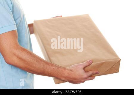 Messenger of messenger service delivers parcel post