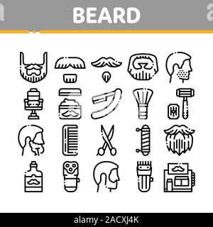 Beard And Mustache Collection Icons Set Vector - Stock Photo