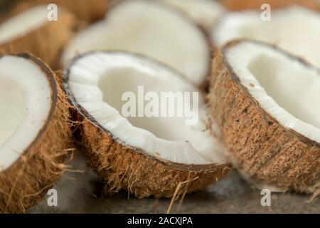 Closeup of coconut, Many coconuts cut in half - Stock Photo