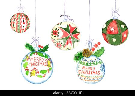 Christmas decoration ball collection with greeting Marry Christmas, handpainted watercolor illustration isolated on white, perfect element for design - Stock Photo