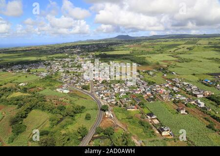 Mauritius, La Flora, surrounded by sugar cane fields - Stock Photo
