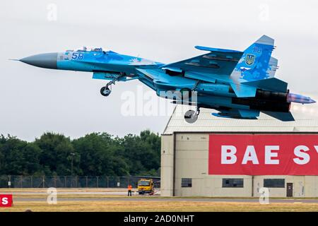 FAIRFORD, UK - JUL 13, 2018: Ukrainian Air Force Sukhoi Su-27 fighter jet plane take off from RAF Fairford airbase. - Stock Photo