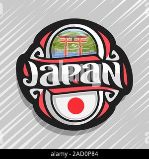 Vector logo for Japan country, fridge magnet with japanese state flag, original brush typeface for word japan and national japanese symbol - floating - Stock Photo
