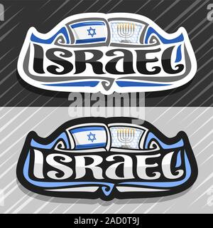 Vector logo for Israel country, fridge magnet with israeli state flag, original brush typeface for word israel and national jewish symbol - menorah wi - Stock Photo
