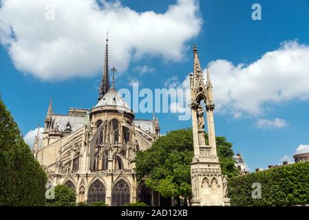 The backside of the famous Notre Dame cathedral in Paris, France - Stock Photo