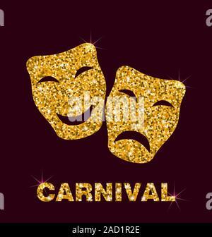 Illustration Golden Glittering Carnival Mask - Stock Photo