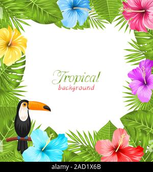Tropical Background with Toucan Bird, Colorful Hibiscus Flowers - Stock Photo