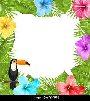 Exotic Jungle Frame with Toucan Bird, Colorful Hibiscus Flowers Blossom - Stock Photo