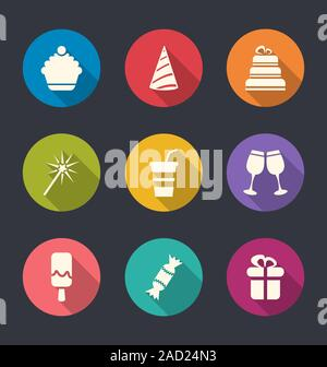 Set flat icons of party objects with long shadows - Stock Photo