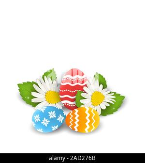 Traditional colorful ornate eggs with flowers camomiles for Easter, copy space for your text - Stock Photo