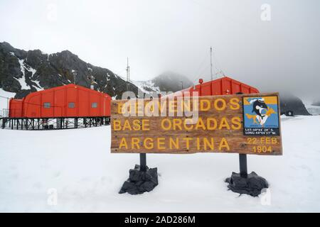 Welcome sign, Argentine scientific station Base Orcadas, Laurie Island, South Orkney Islands, Antarctica - Stock Photo
