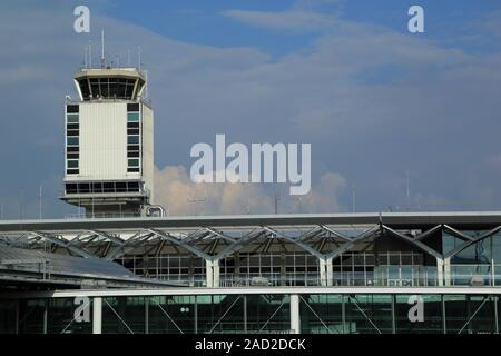 Basel, Tower at Euroairport and Terminal Building - Stock Photo