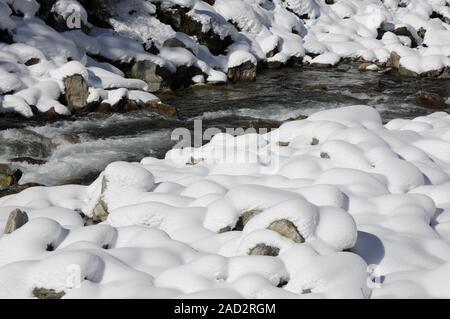 Krimmler Ache in winter - Stock Photo