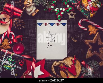 Merry Christmas and Happy New Year. Beautiful card - Stock Photo