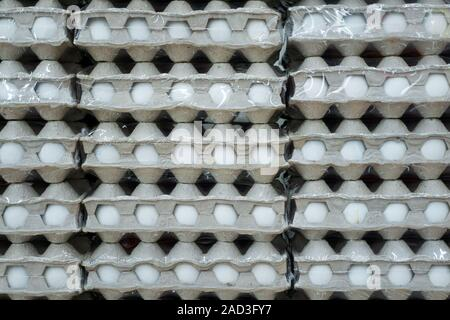 many boxes of eggs displayed on supermarket shelf for sale. - Stock Photo