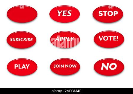 Set of buttons with words of motivation. White text on red background. Glass ellipse button. Web sign icons. 3d illustration - Stock Photo