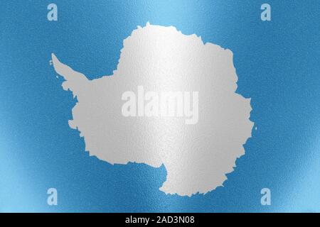 Antarctica flag in traditional blue white colors on the frosted glass. 3D rendering - Stock Photo