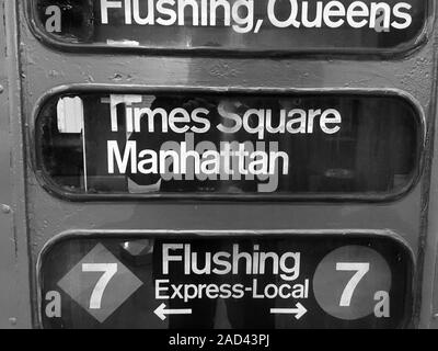 New York City vintage subway sign for Times Square Midtown Manhattan. NYC has the largest rapid transport system in the World with 472 stations and ru - Stock Photo