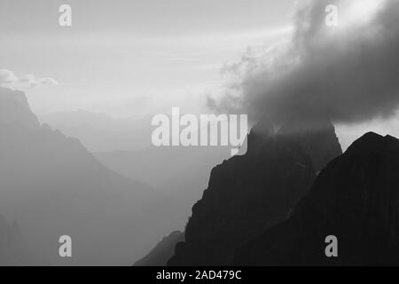 Summer evening in the Swiss Alps, view from mount Titlis - Stock Photo