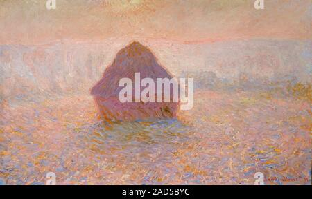 Grainstack, Sun in the Mist by Claude Monet (1840-1926), oil on canvas, 1891 - Stock Photo