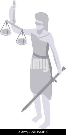 Judge statue icon, isometric style - Stock Photo