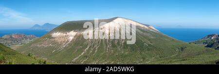 panoramic view of the vukcano volcano, aeolian islands, italy - Stock Photo