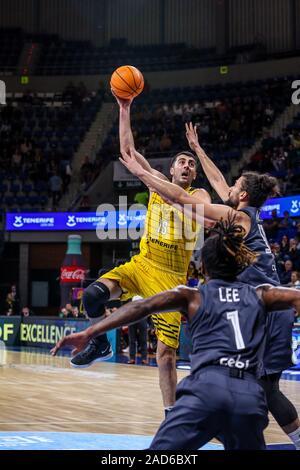 Tenerife, Spain, 03 Dec 2019, giorgi shermadini (iberostar tenerife) on shot during Iberostar Tenerife vs Bamberg - Basketball Champions League - Credit: LPS/Davide Di Lalla/Alamy Live News