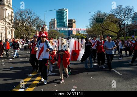 Buenos Aires, Argentina - October 6, 2013: River Plate supporters arriving at the Estadio Monumental Antonio Vespucio Liberti for a soccer game in the