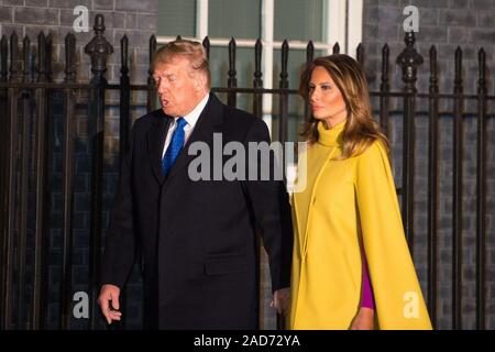 London, UK. 3 December 2019.  Pictured: (left) Donald J Trump - 45th President of the United Starts of America, (right) Melania Trump - First Lady. Boris Johnson, UK Prime Minister hosts a reception with foreign leaders ahead of the NATO (North Atlantic Treaty Organisation) meeting on the 4th December. Credit: Colin Fisher/Alamy Live News - Stock Photo
