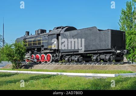 Dnipro, Ukraine - May 7, 2017: Old Soviet locomotive from the Second World War. The inscription says - CO17-1613 - Stock Photo