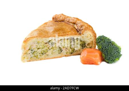 Pie with fish and broccoli. Isolated on white background - Stock Photo